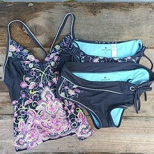 ATHLETA 3 Piece Tankini Swim Set Size Small Medium